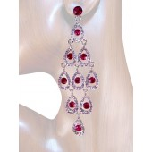 Diva 4.25 inch Crystal Drop Earrings Pink Silver