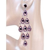 Diva 4.25 inch Crystal Drop Earrings Purple Silver