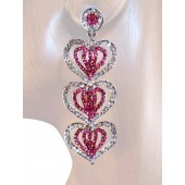 Heartfelt Desire 2.75 inch Crystal Drop Earrings Pink Silver