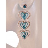 Heartfelt Desire 2.75 inch Crystal Drop Earrings Teal Blue Silver