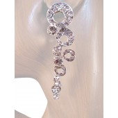 Shimmer 2.75 inch Crystal Drop Earrings Clear Silver