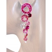 Shimmer 2.75 inch Crystal Drop Earrings Pink Silver