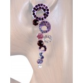 Shimmer 2.75 inch Crystal Drop Earrings Purple Silver