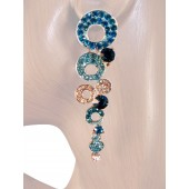 Shimmer 2.75 inch Crystal Chandelier Drop Earrings Teal Blue Silver