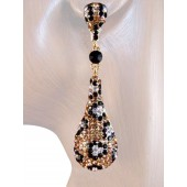 Drop Dead Gorgeous 2.5 inch Crystal Drop Earrings Leopard Gold