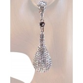 Drop Dead Gorgeous 2 6/8 inch Crystal Drop Earrings Clear Silver