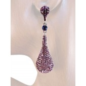 Drop Dead Gorgeous 2.5 inch Crystal Drop Earrings Purple Silver