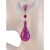 Drop Dead Gorgeous 2 .5 inch Crystal Drop Earrings Multi Pink Silver