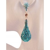 Drop Dead Gorgeous 2.5 inch Crystal Drop Earrings Teal Blue Silver