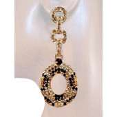 Sensation 2.75 inch Crystal Drop Earrings Leopard Topaz Brown Gold