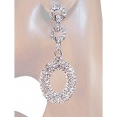 Sensation 2.75 inch Crystal Drop Earrings Clear Silver