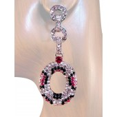 Sensation 2.75 inch Crystal Drop Earrings Leopard Pink Silver