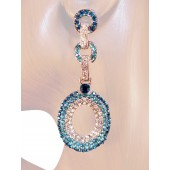 Sensation 2.75 inch Crystal Drop Earrings Teal Blue Silver