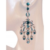 Elegance 3.00 inch Crystal Chandelier Earrings Teal Blue Silver
