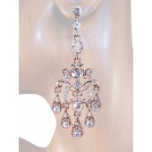 Elegance 3.00 inch Crystal Chandelier Drop Earrings Clear Silver