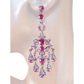 Elegance 3.00 inch Crystal Chandelier Earrings Pink Silver