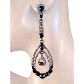 Beauty Glam 3 5/8 inch Crystal Drop Earrings Black Gray