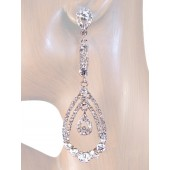 Beauty Glam 3 5/8 inch Crystal Chandelier Drop Earrings Clear Silver