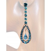 Glorious Sparkle 2.75 inch Crystal Drop Earrings Teal Blue Silver