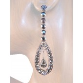 Glorious Sparkle 2.75 inch Crystal Drop Earrings Gray Silver