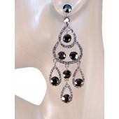 Sublime Splendor 3.25 Inch Crystal Earrings Black Gray Silver