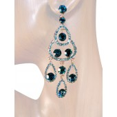 Sublime Splendor 3.25 Inch Crystal Earrings Teal Blue Silver