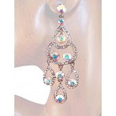 Sublime Splendor 3.25 Inch Crystal Earrings Clear Silver