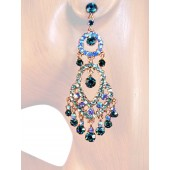 Classic Sense 3.00 inch Crystal Chandelier Earrings Teal Blue Silver