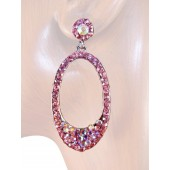 Elegant Delight 2.00 inch Crystal Drop Earrings Pink Silver