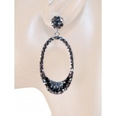 Elegant Delight 2.00 inch Crystal Drop Earrings Black Gray Silver
