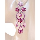 Drama Queen 3.25 inch Crystals Chandelier Earrings Pink Silver