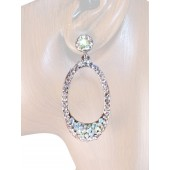 Elegant Delight 2.00 inch Crystal Drop Earrings Clear Silver