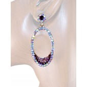 Elegant Delight 2.00 inch Crystal Drop Earrings Purple Gold