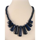 Lapis Lazuli Drop Semi Precious Gemstone Necklace