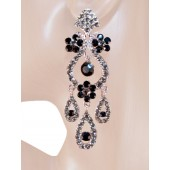 Drama Queen 3.25 inch Crystal Chandelier Earrings Black Gray Silver