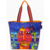 Laurel Burch Purple & Orange Large Three Amigos Tote
