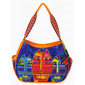Laurel Burch Purple & Orange Large Three Amigos Hobo