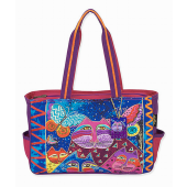 Laurel Burch Blue and Pink Cats and Butterflies Medium Satchel Tote