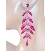 Sleek Chic 3.25 inch Crystal Drop Earrings Pink Silver