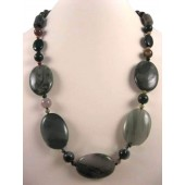 Chunky Unakite Semi Precious Gemstone Necklace
