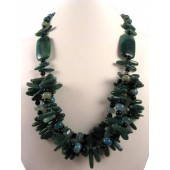 Aventurine Green Agate Black Onyx Semi Precious Gemstone Necklace