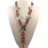 Cherry Quartz Pearl Shell Flower Semi Precious Gemstone Necklace