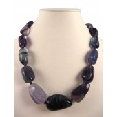 Chunky Rainbow Fluorite Semi Precious Gemstone Necklace
