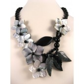 Black Onyx & Shell Flower Semi Precious Gemstone Necklace
