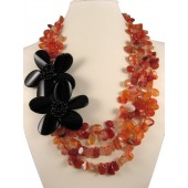 Carnelian and Black Onyx Semi Precious Gemstone Necklace
