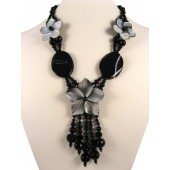 Black Onyx Shell Flower Semi Precious Gemstone Necklace