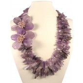 Amethyst and Pearl Semi Precious Gemstone Necklace