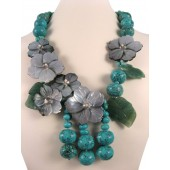 Turquoise Aventurine Shell Flower Semi Precious Gemstone Necklace