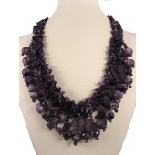 Natural Deep Purple Amethyst Semi Precious Gemstone Necklace