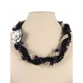 Braided Pearls Amethyst Chips Semi Precious Gemstone Necklace